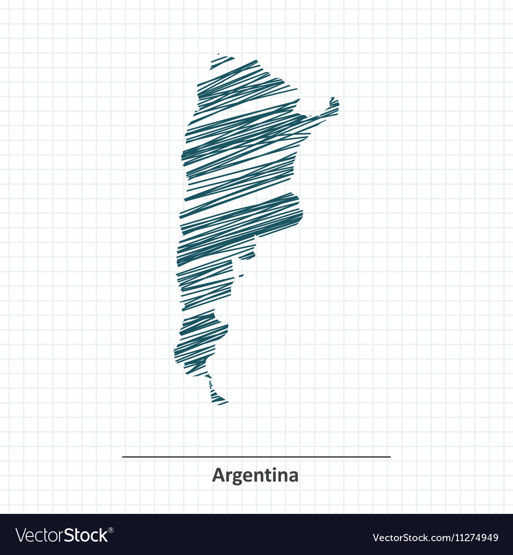 Doodle Sketch Of Argentina Map Royalty Free Vector Image - Argentina map vector free