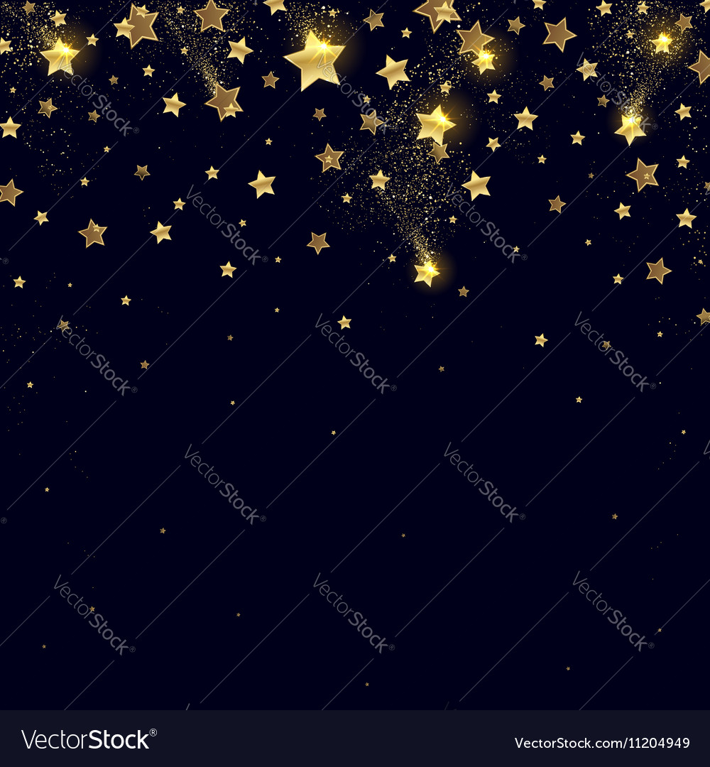 Salute of Golden Stars with Sparks vector image