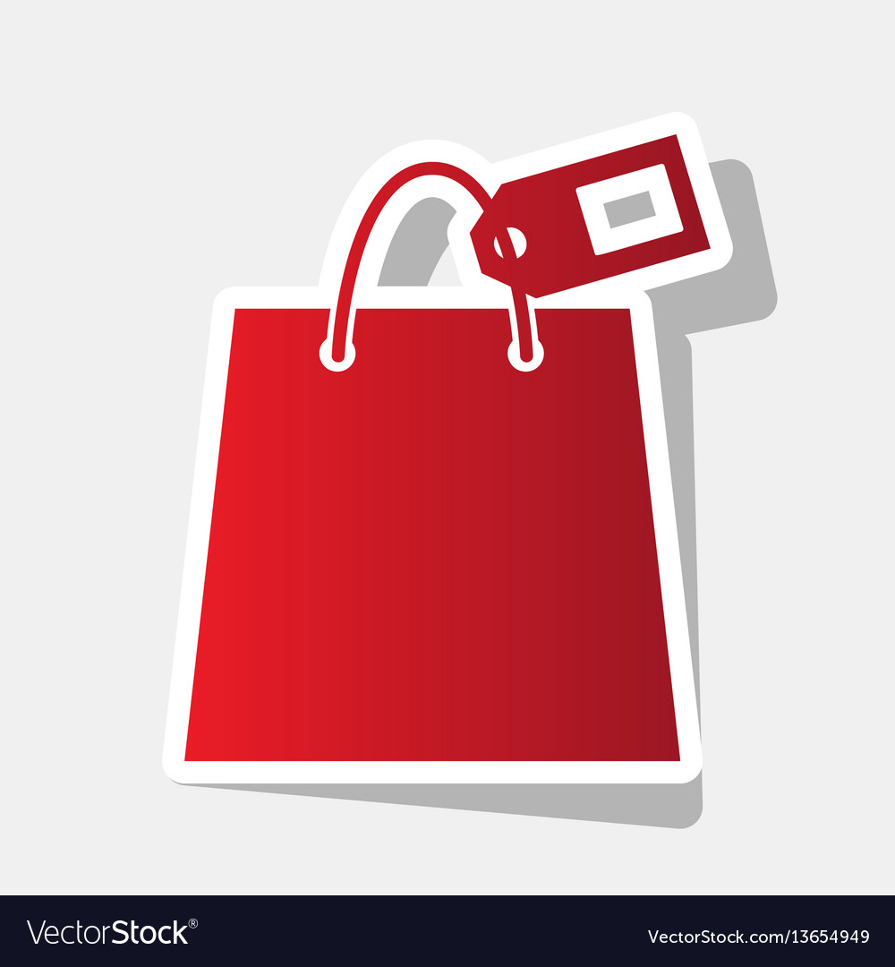 Shopping bag sign with tag new year vector image