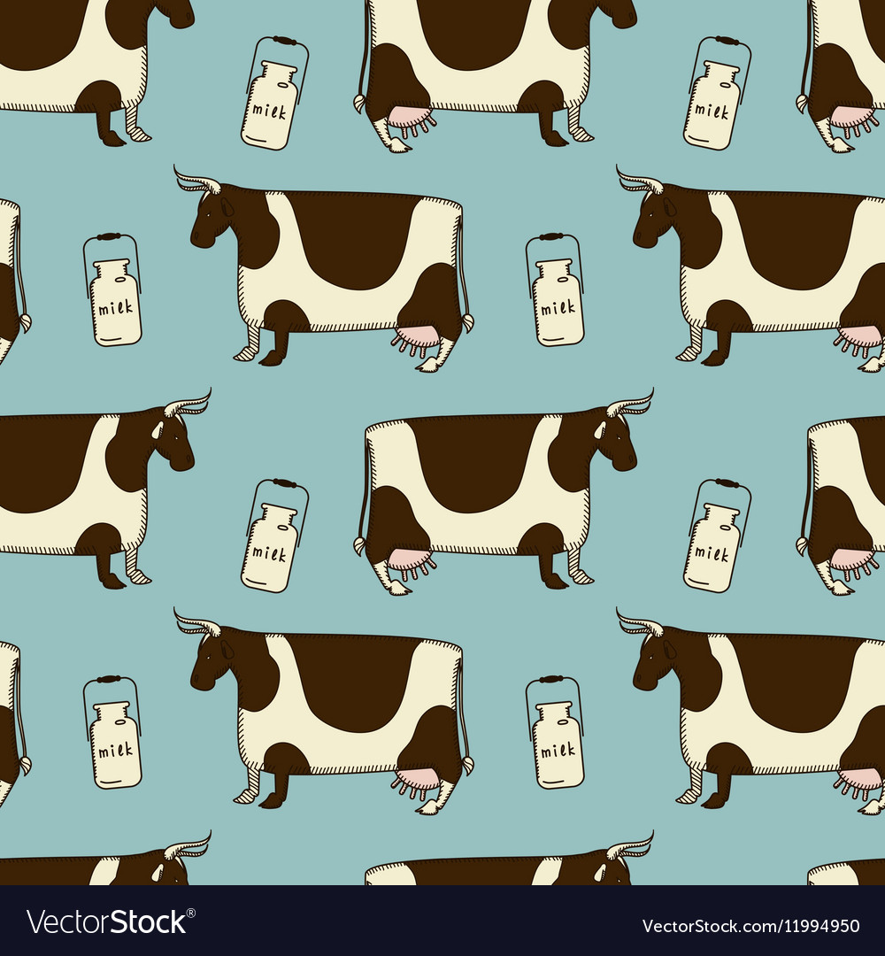 Simple parretn with cows and milk vector image