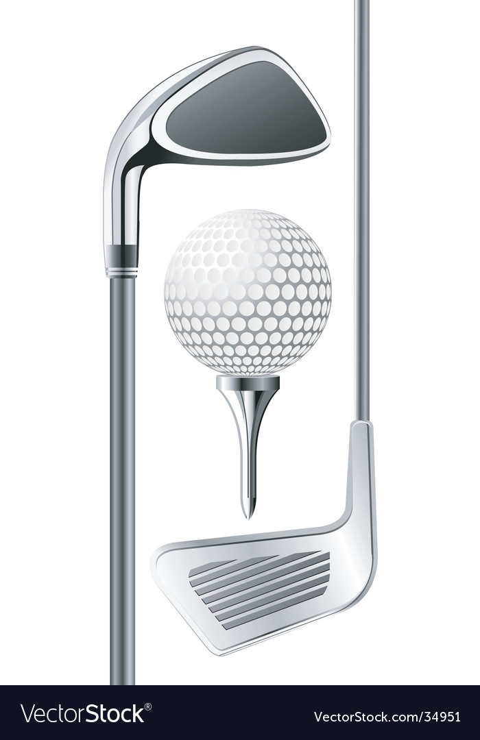Golf club and ball vector image