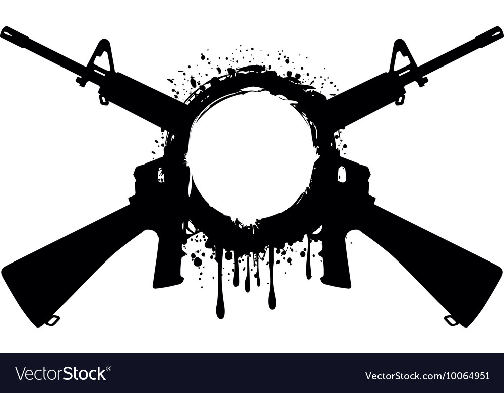 Grunge frame with machine gun 1 vector image