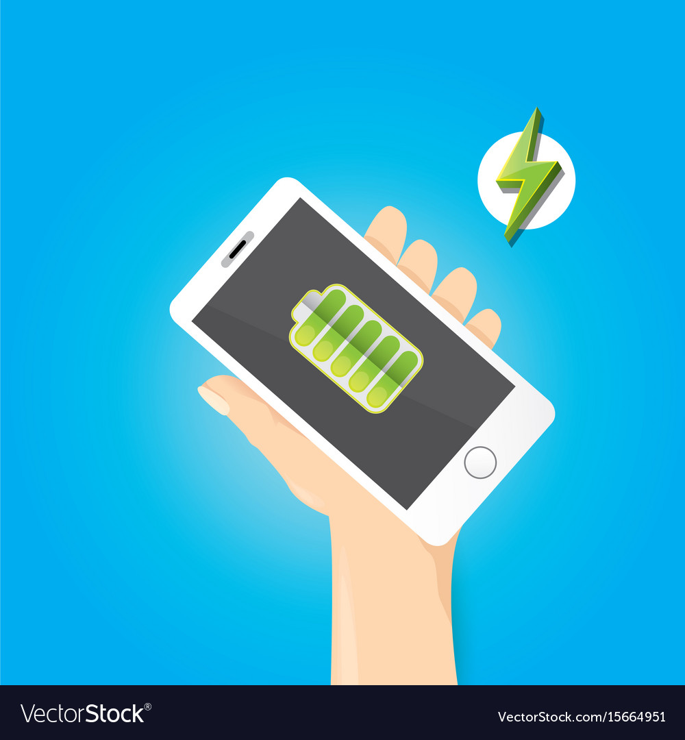 Smartphone with green full battery icon on screen vector image