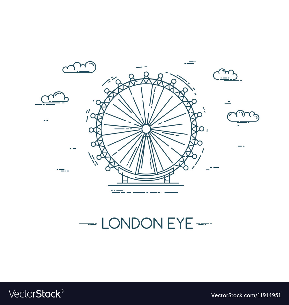 The London Eye flat line vector image