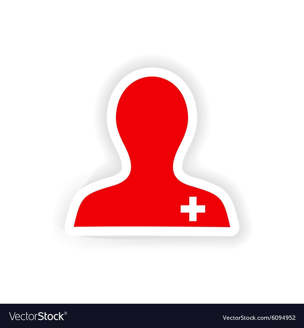 Icon sticker realistic design on paper nurse