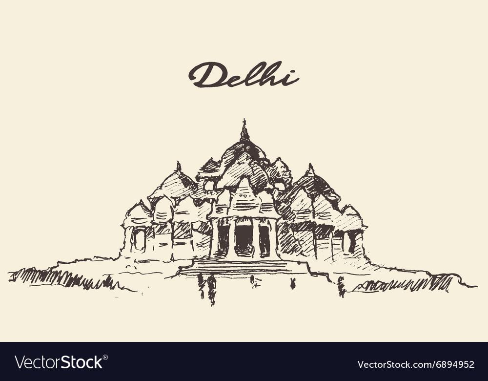 Delhi Akshardham Temple drawn sketch vector image