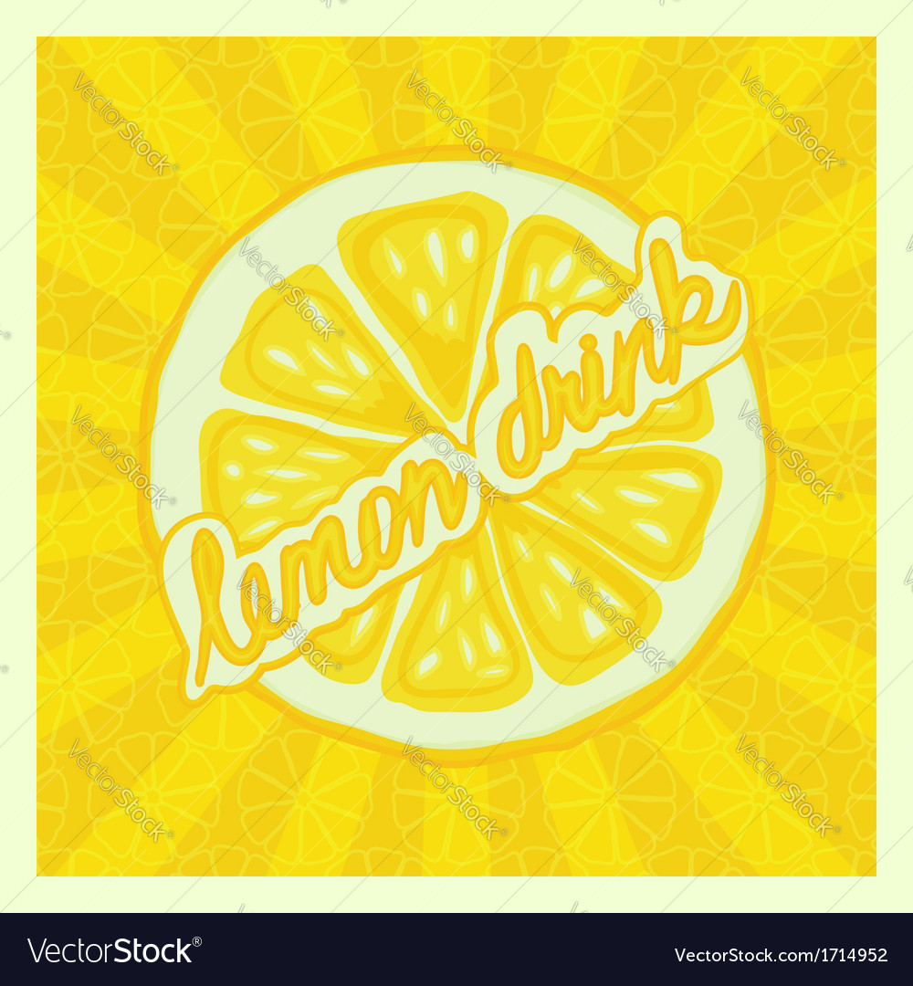 Lemon drink background - vector image