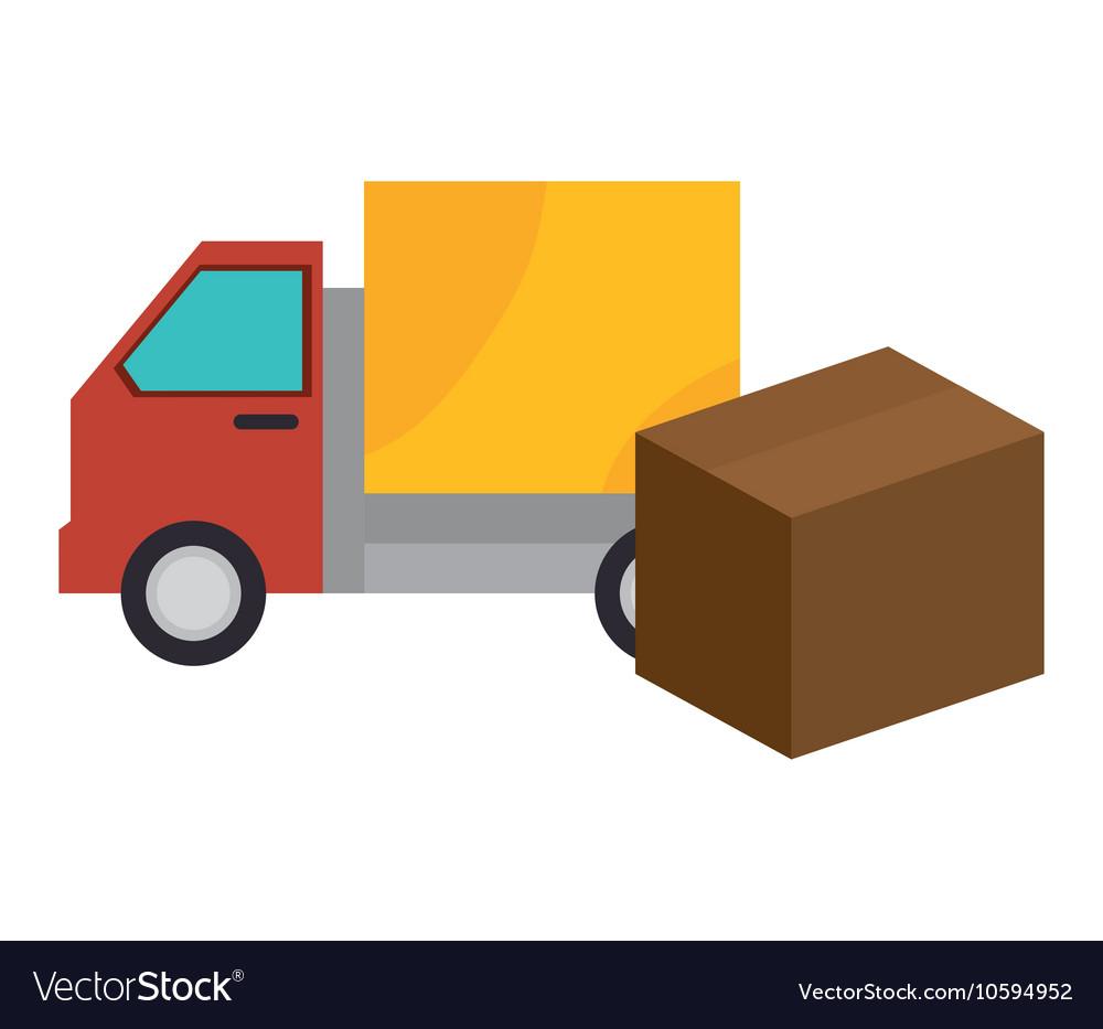 Truck box carton shipping cargo design vector image