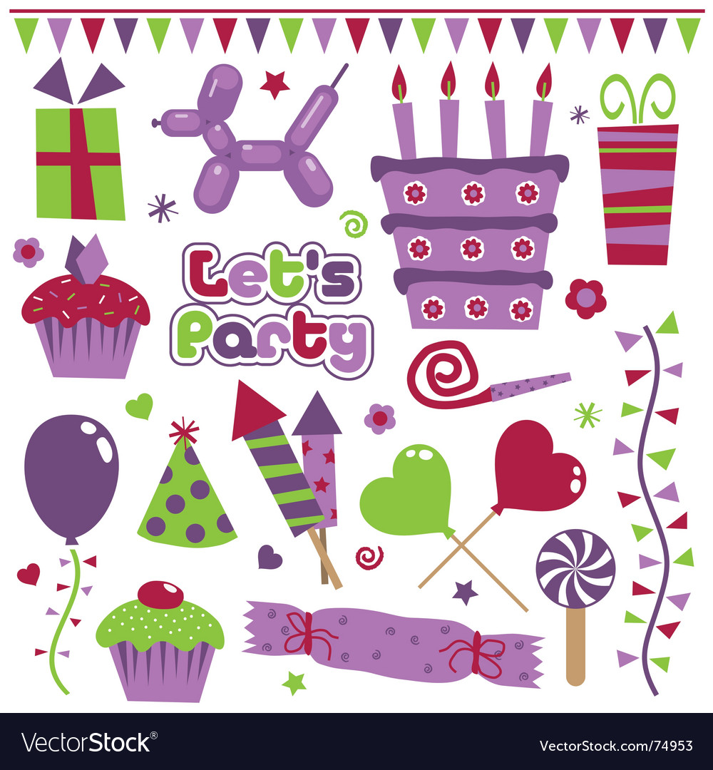 Purple decorations vector image