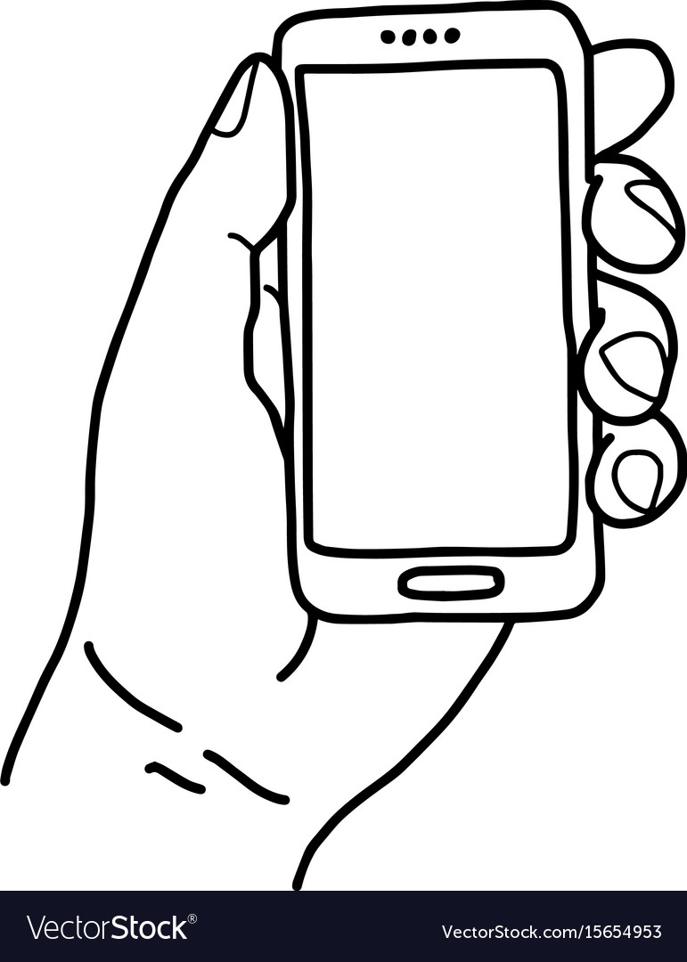 left hand holding small mobile phone royalty free vector