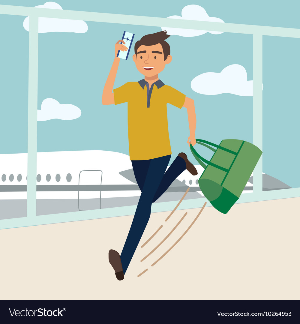 Man with bag late for the plane vector image