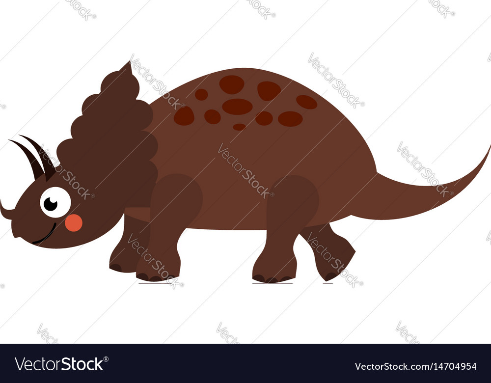 Cute dinosaur cartoon dino character triceratops vector image