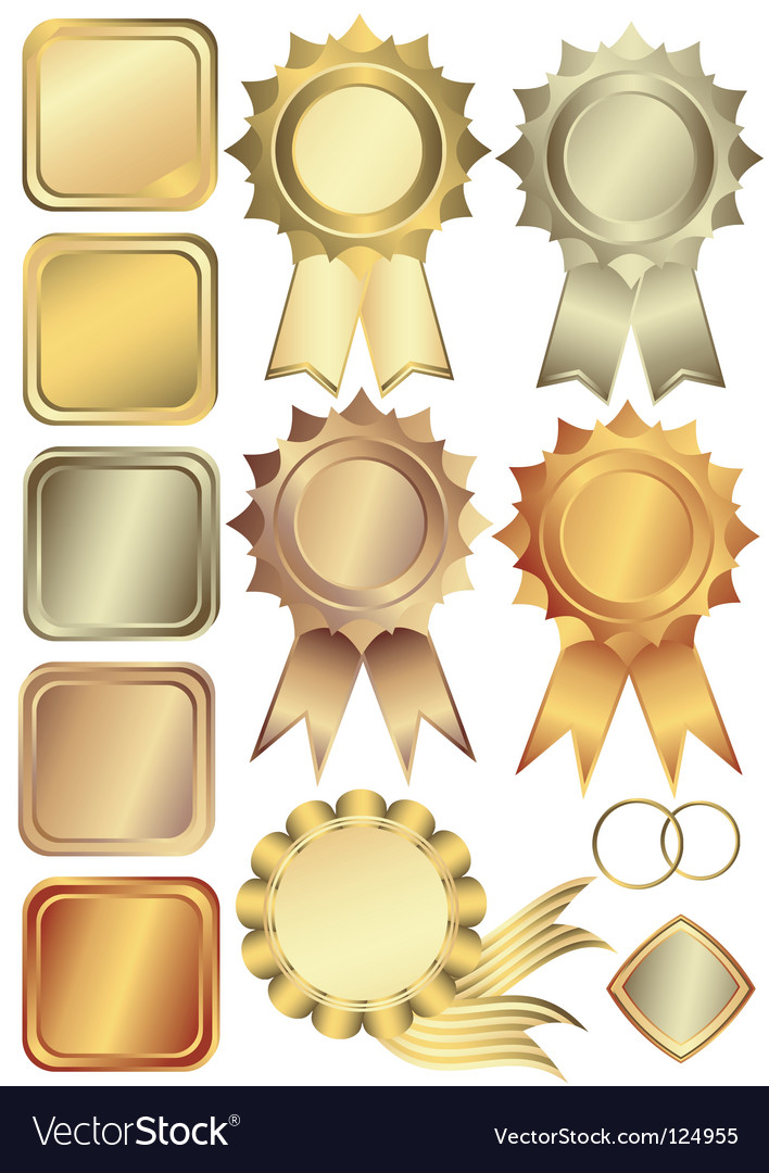 Gold silver and bronze frames Vector Image
