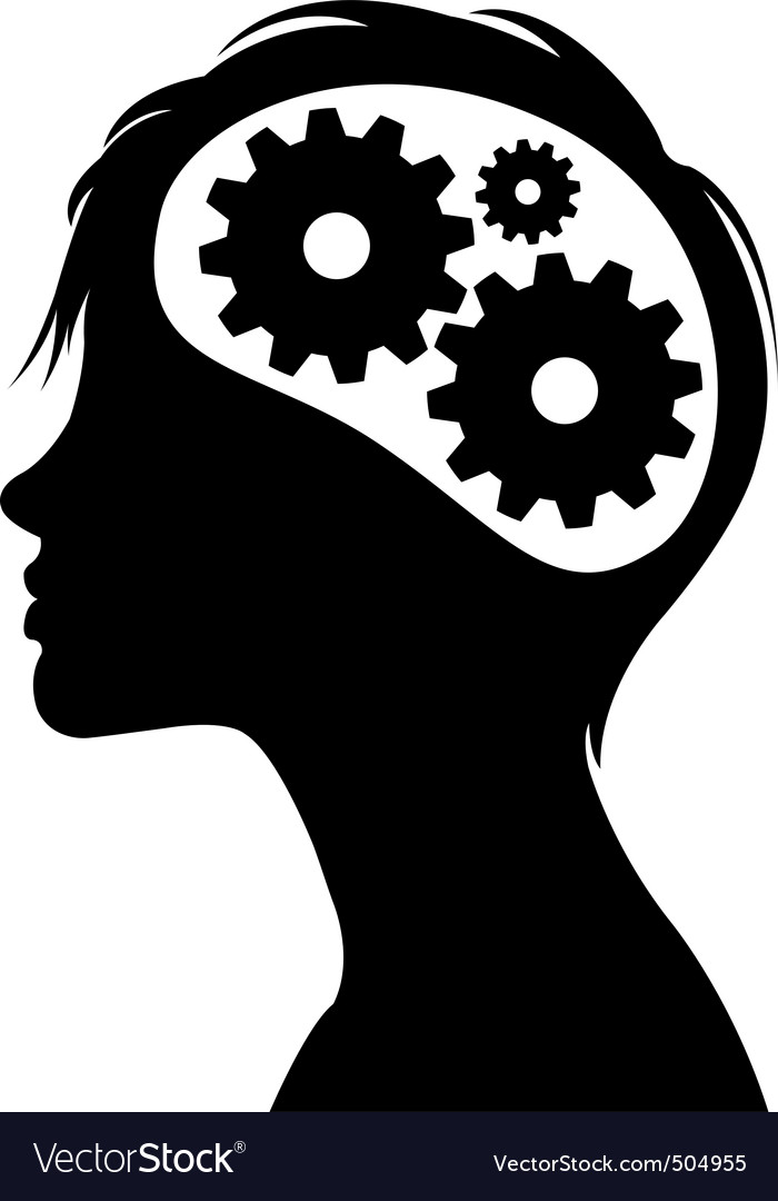 Gears in head silhouette vector image