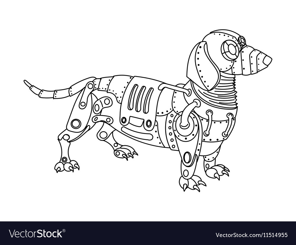 Steampunk Style Dachshund Dog Coloring Book Vector Image