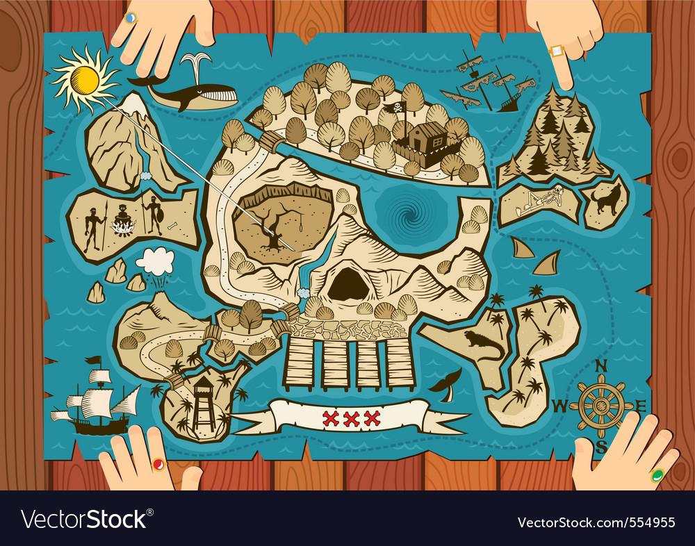 Treasure map on desk vector image