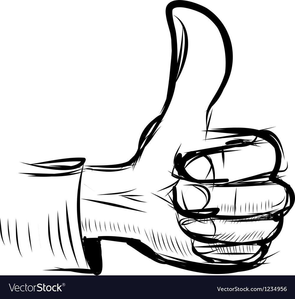 Thumb up like hand symbol vector image
