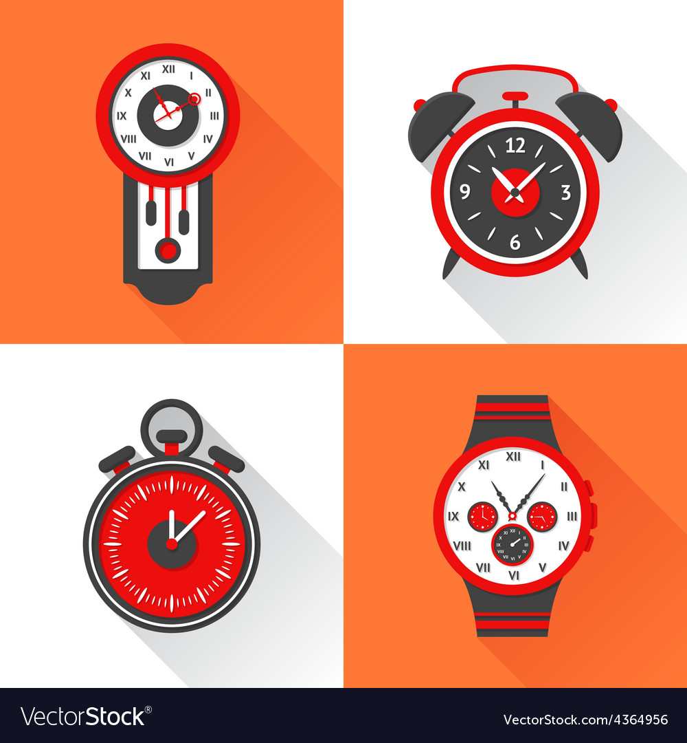 Clock Flat Set vector image
