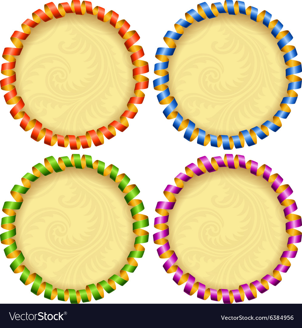 Holiday circle frame set vector image