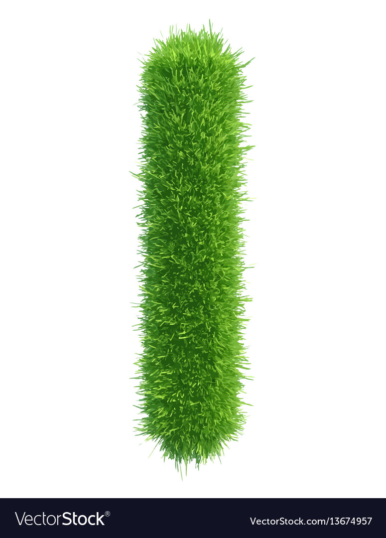 Small grass letter l on white background vector image
