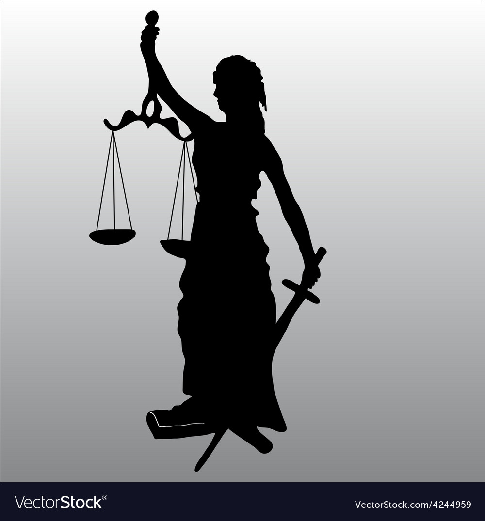 Justice statue silhouette vector image