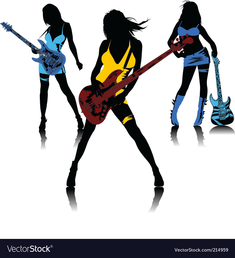 Sexy female rock band vector image