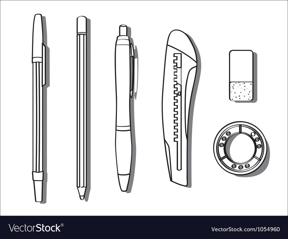 Stationary items vector image