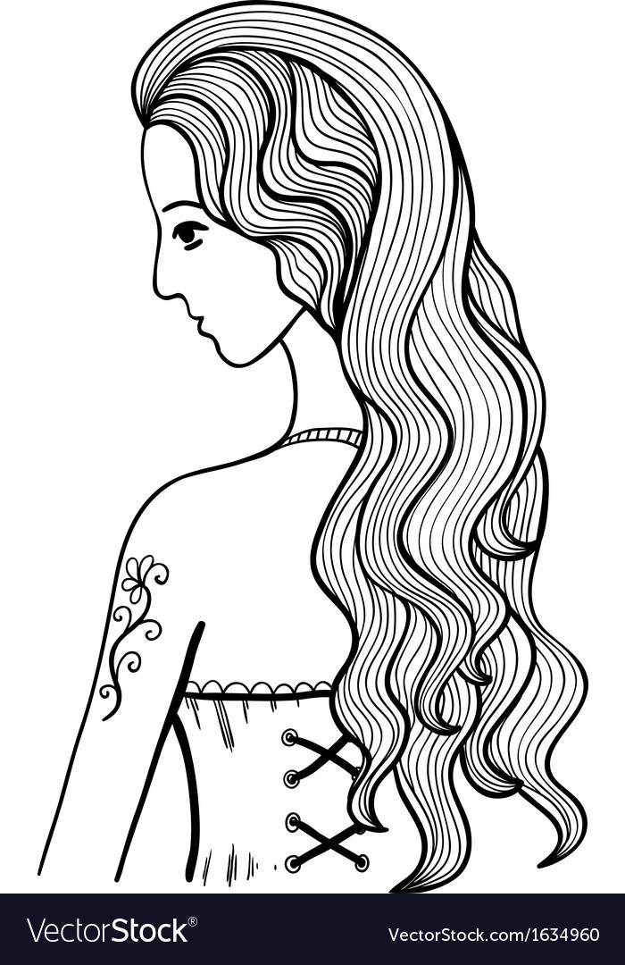 Black and white outline girl vector image