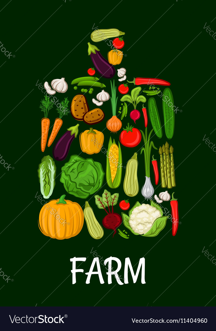 Farm vegetables emblem in shape of cutting board vector image