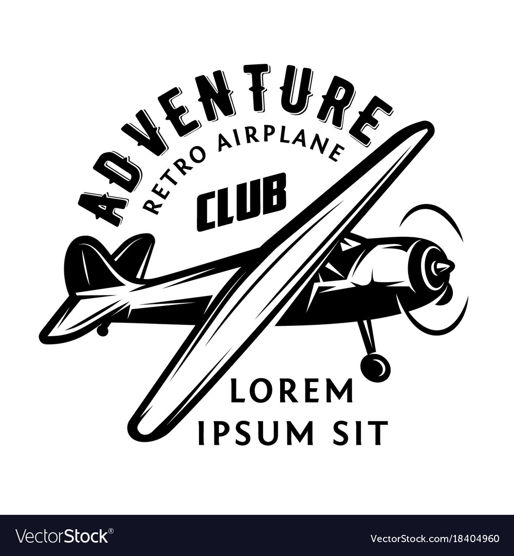 Monochrome with airplane for vector image