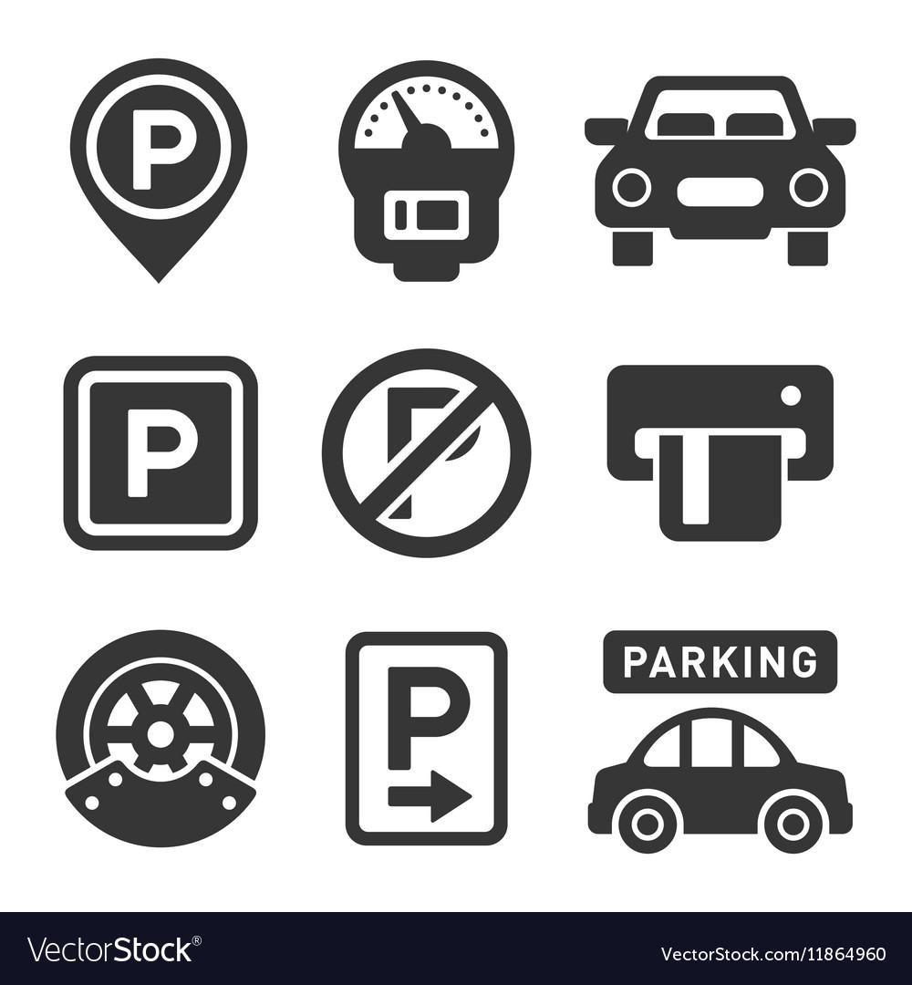 Parking Icon Set on White Background vector image