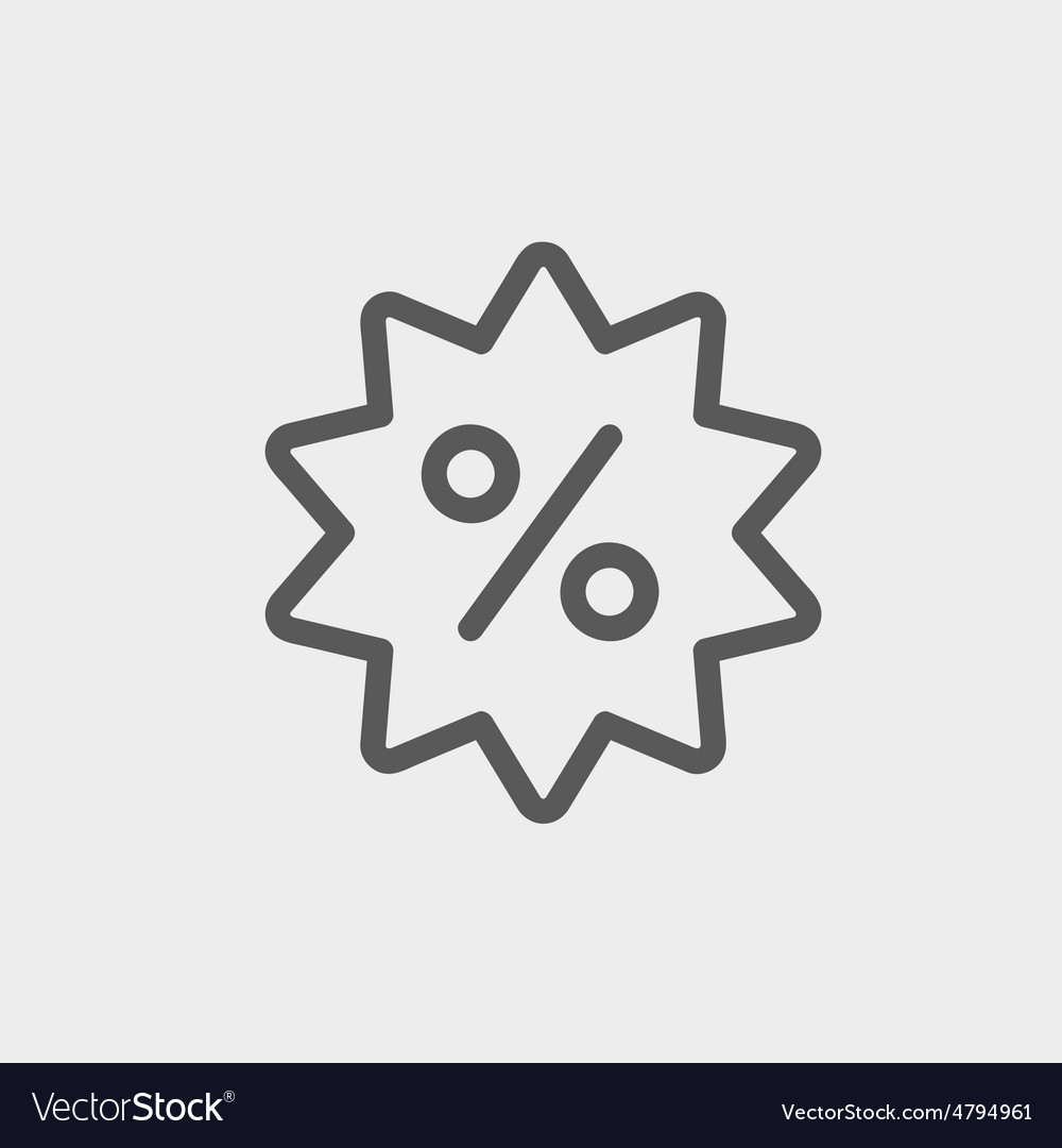 Discount tag thin line icon vector image