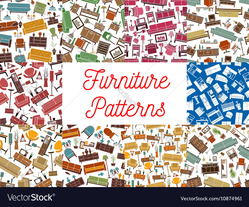 Furniture seamless patterns for interior design vector image