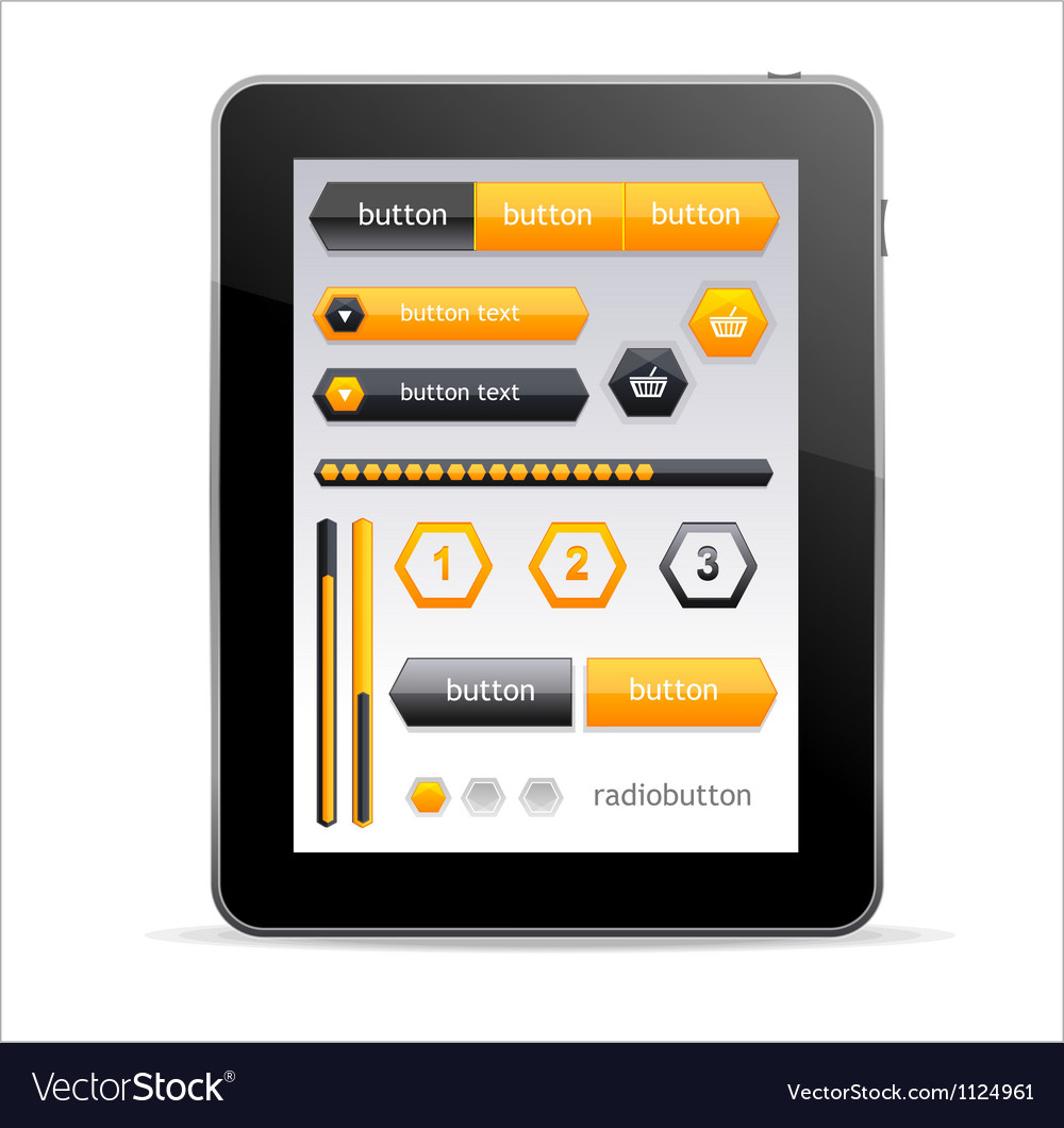 GUI elements for Tablet vector image