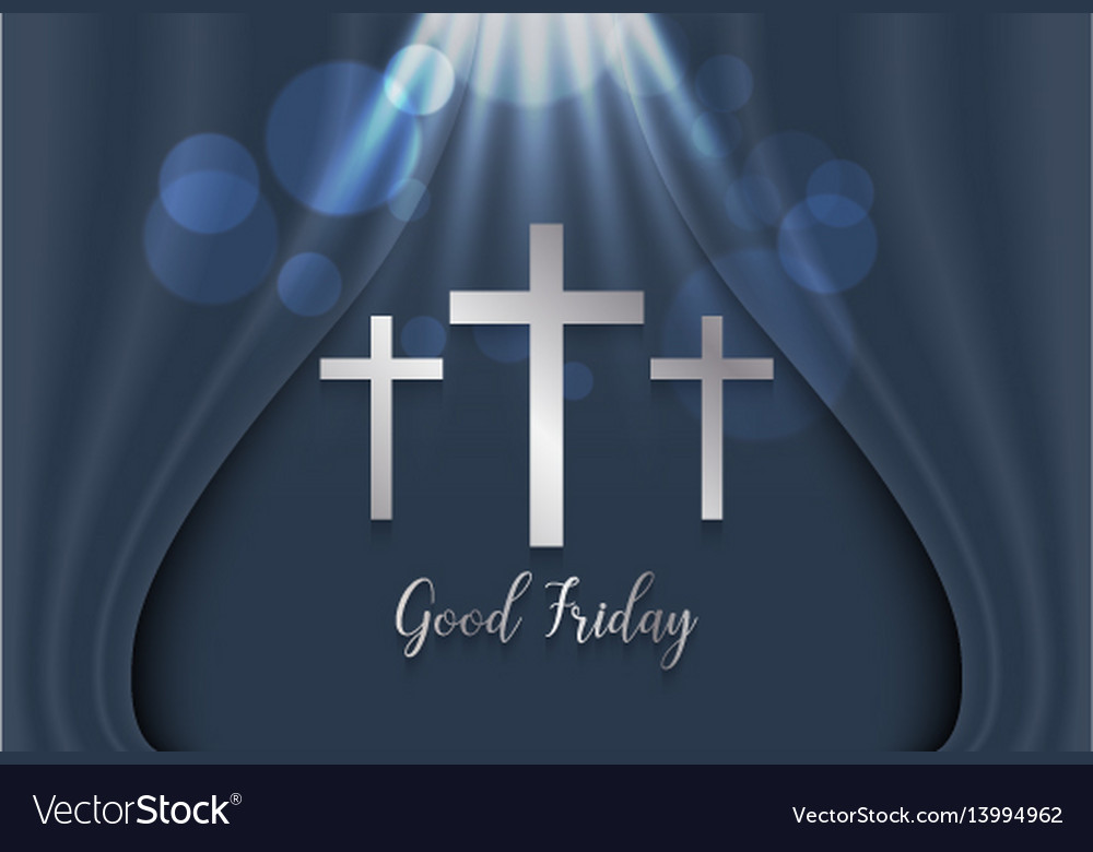 Good friday background with silver cross vector image