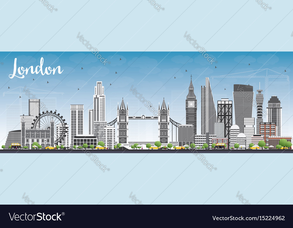 London skyline with gray buildings and blue sky vector image