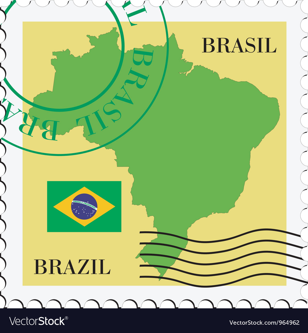 Mail to-from Brazil vector image