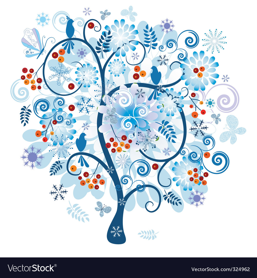 Winter decorative tree vector image
