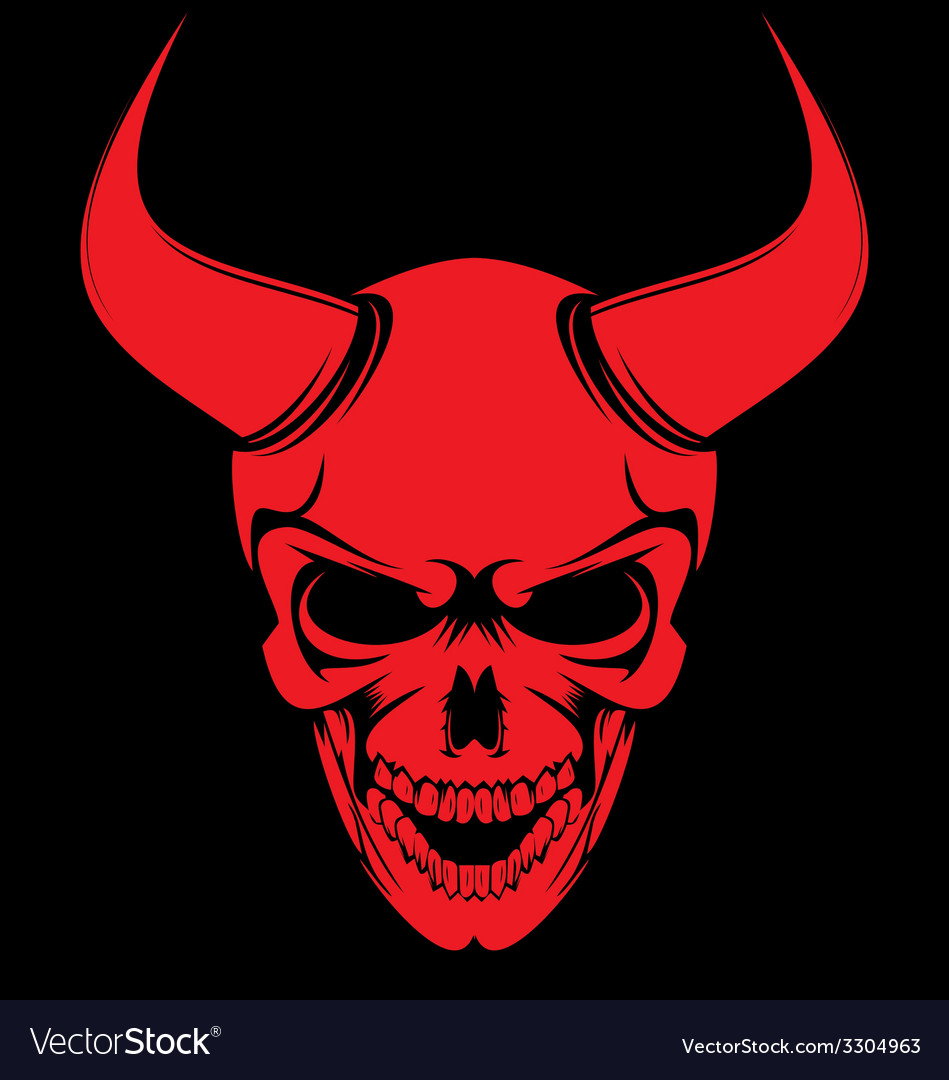 Red devil skulls royalty free vector image vectorstock - Devil skull wallpaper ...