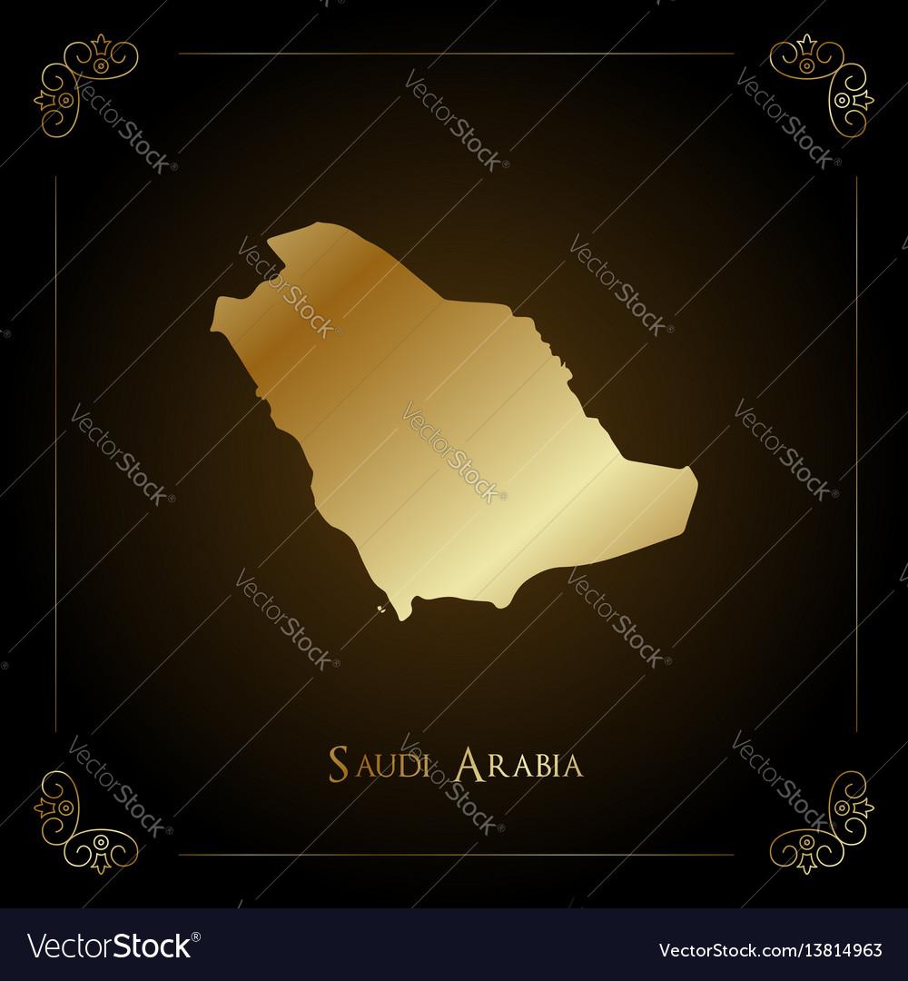Saudi arabia golden map vector image