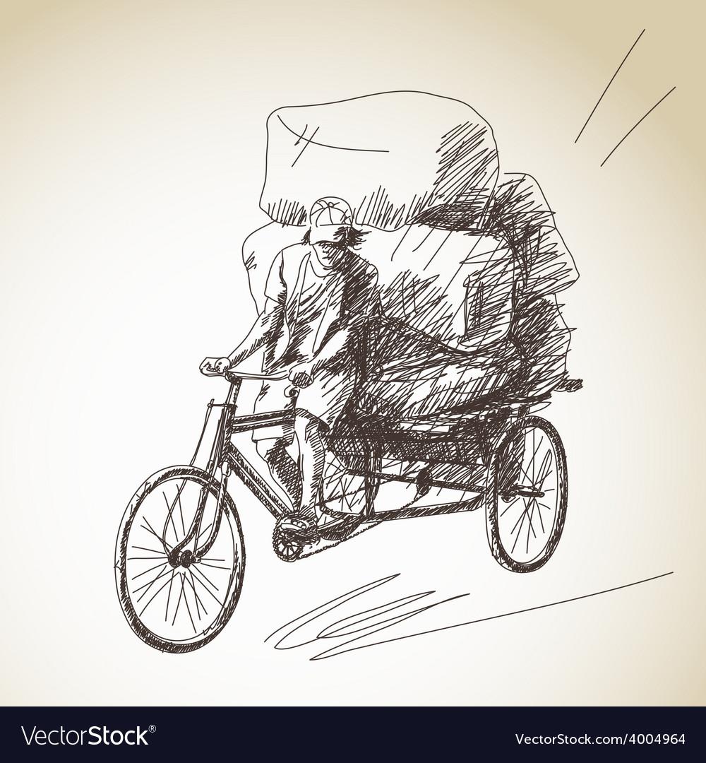 Cycle rickshaw vector image