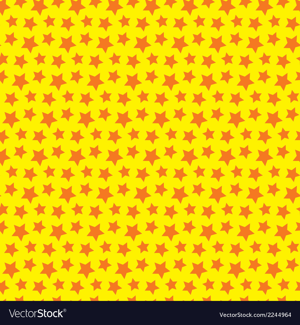 Seamless star texture Orange yellow background vector image