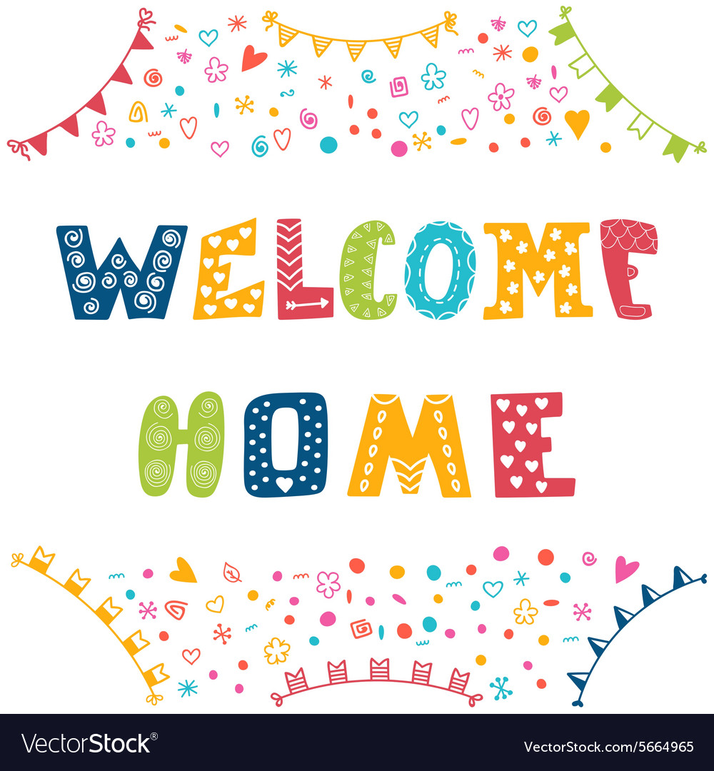 welcome home text with colorful design elements vector image welcome home text with colorful design elements vector image