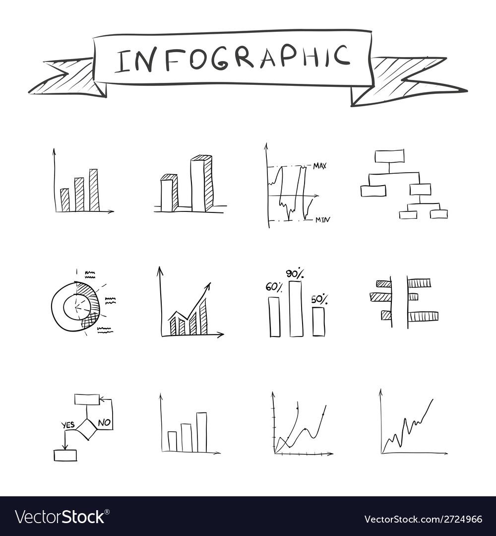 Business doodle graphs vector image
