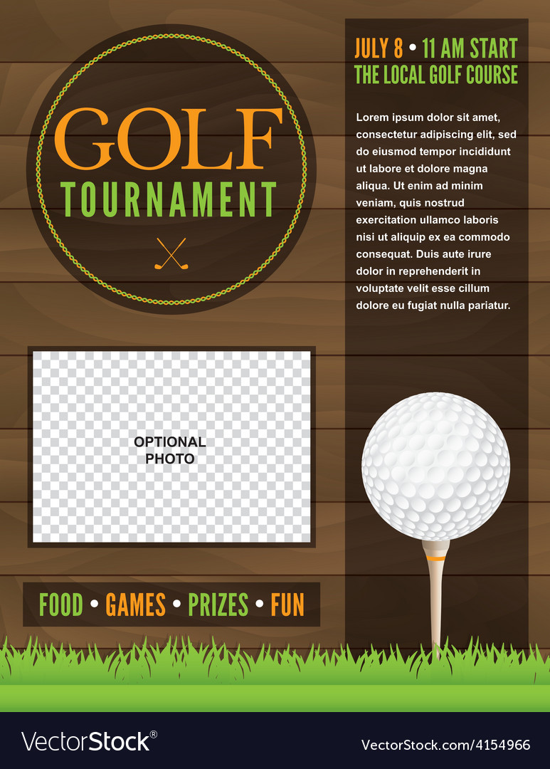 Delightful Golf Tournament Flyer Template Vector Image