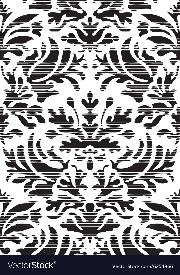 Hand drawn seamless stylized foliage striped vector image