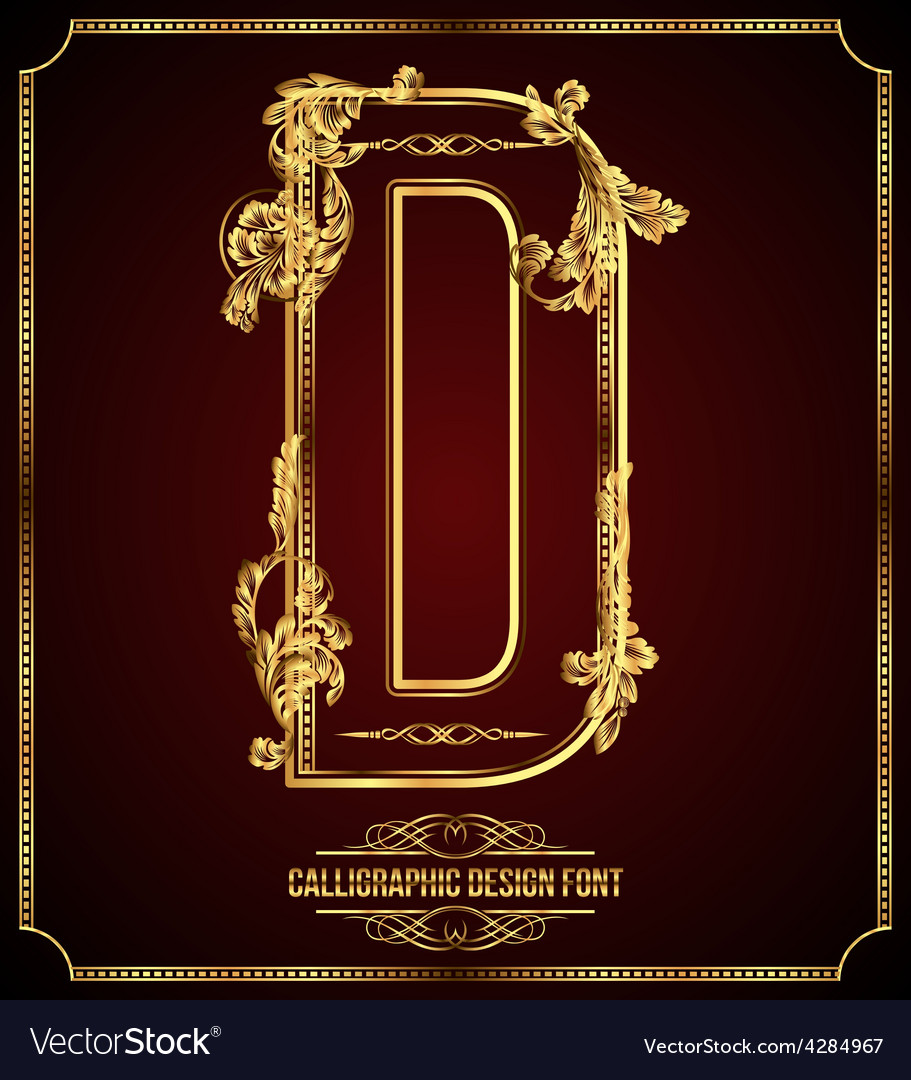 Calligraphic font Letter D vector image