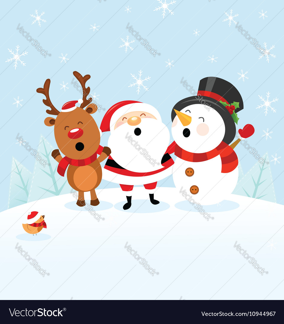 Santa Snowman Reindeer Celebrating Christmas vector image