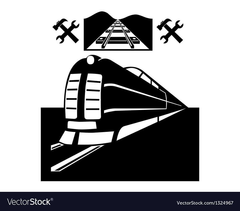 Train and railway line vector image
