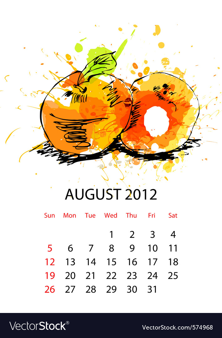 Calendar with fruit for 2012 august vector image